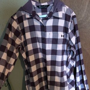Purple plaid under armor button up hoodie